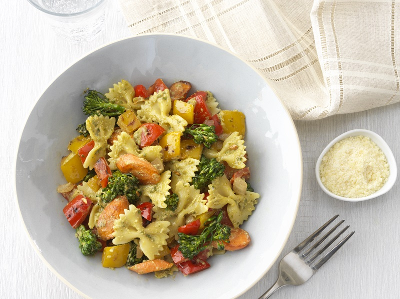 Barilla Farfalle Pasta with Roasted Vegetables and Creamy Genovese Basil Pesto