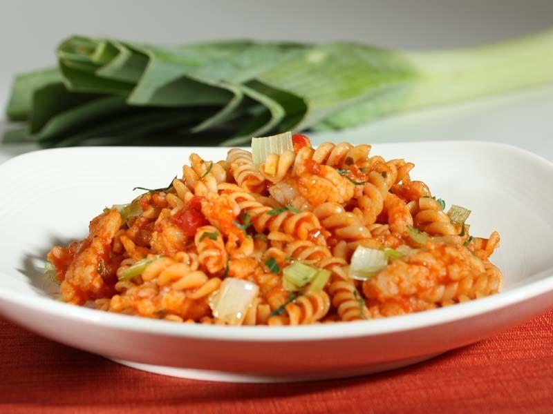 spicy shrimp ragout with rotini pasta