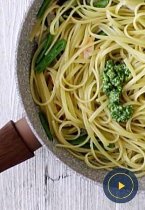 Bavette Barilla s Pestom Genovese, škampima i zelenim mahunama