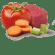 Ausgewähltes Fleisch aus einer kontrollierten Lieferkette, italienische Tomaten