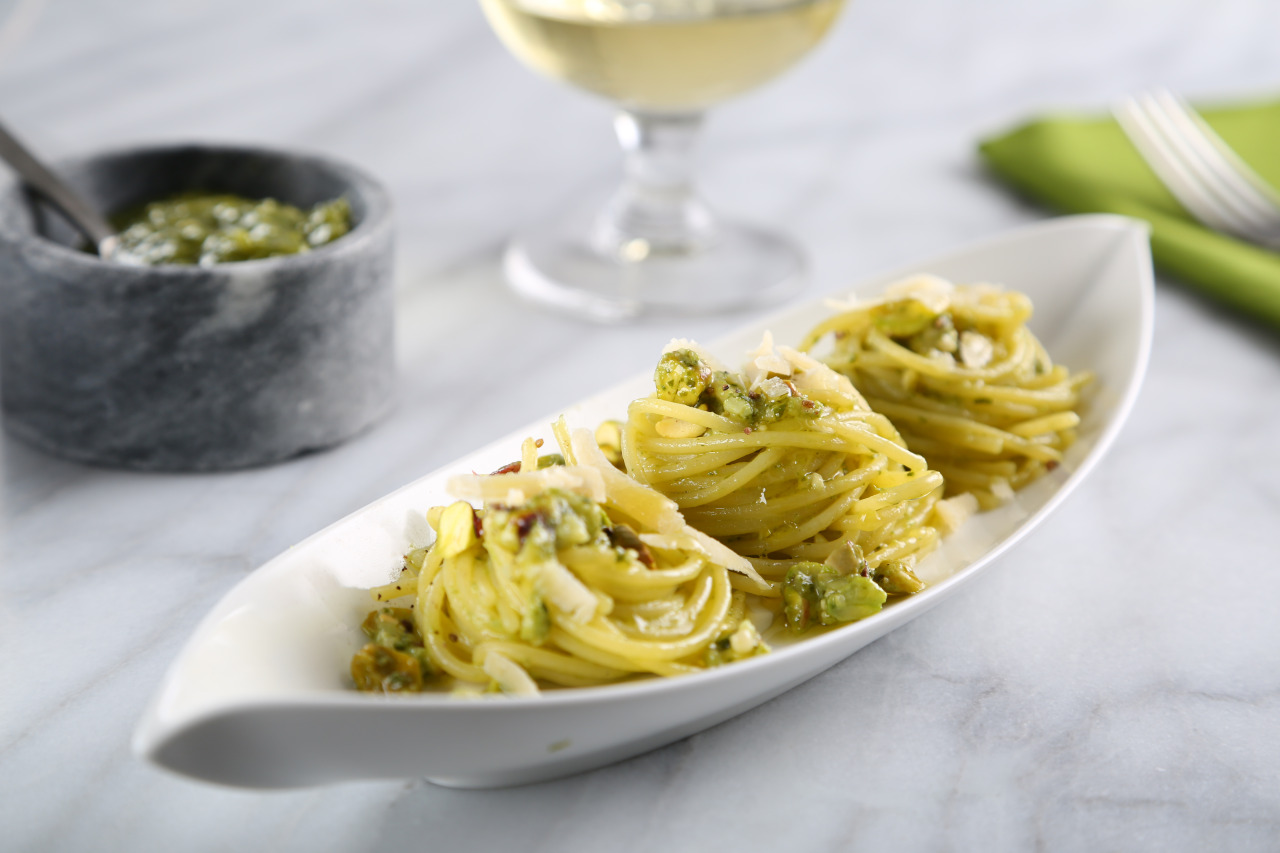 Spaghetti with Basil and Pistachio Pesto