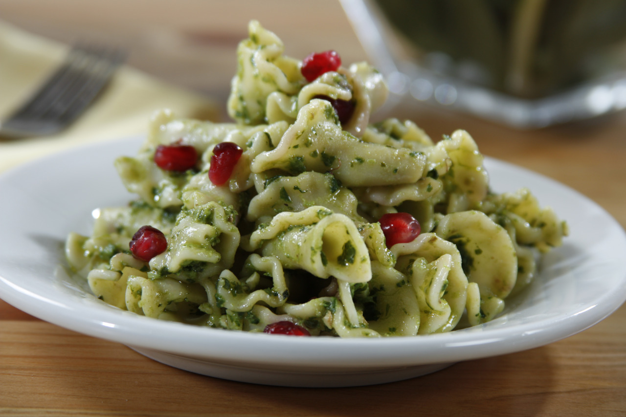 Campanelle with Kale, Walnuts, Parmigiano Pesto and Fresh Pomegranate
