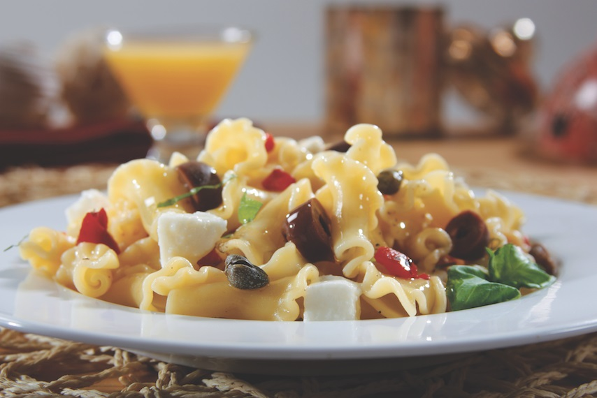 Campanelle Salad with Roasted Peppers, Olives, Capers, Mozzarella & Basil