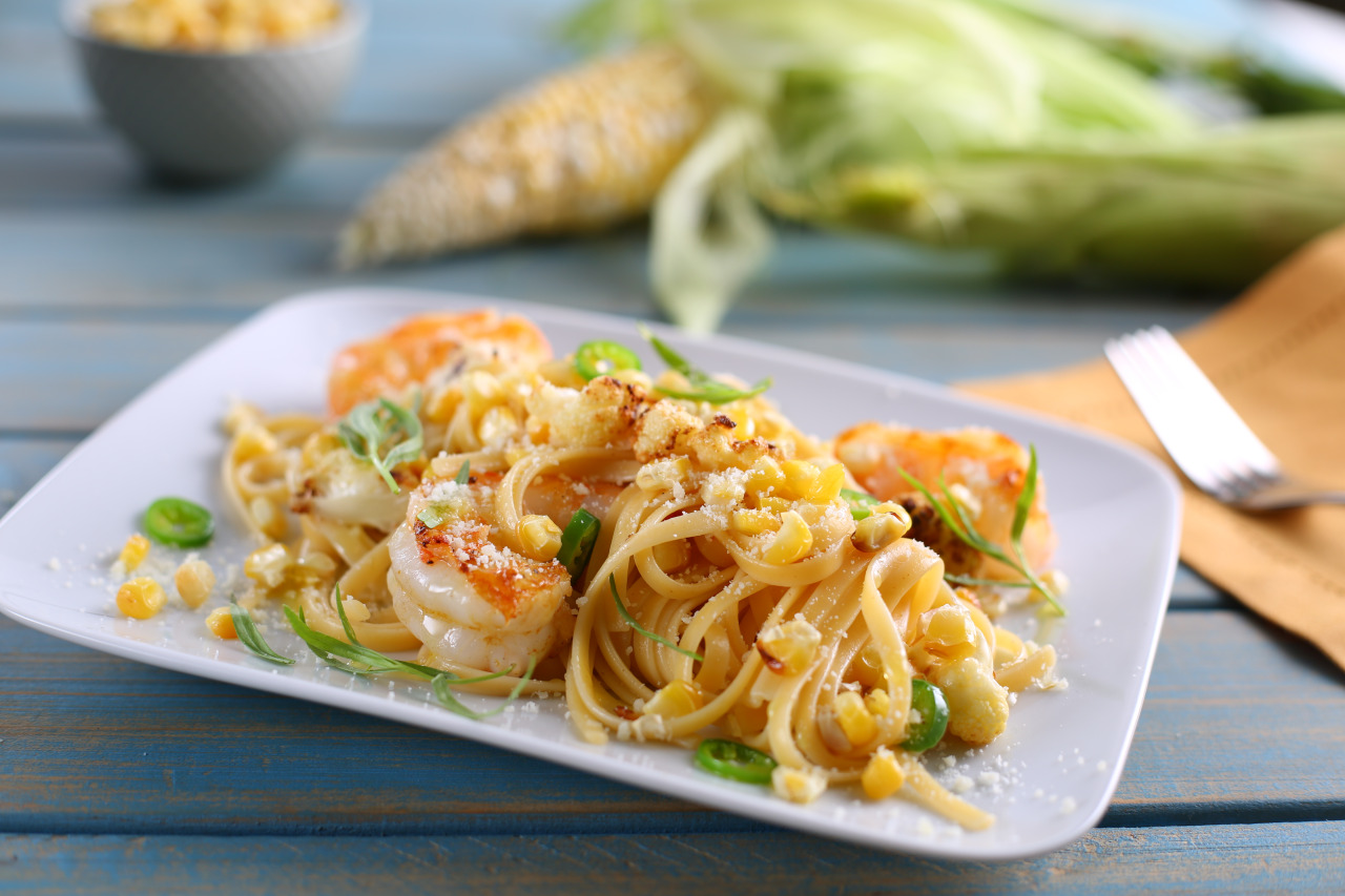 Linguine with Charred Summer Corn and Cauliflower, Grilled Shrimp and Tarragon