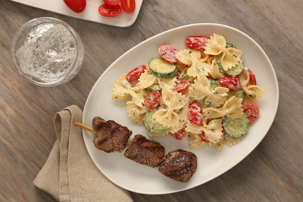 Farfalle Pasta Salad Recipe with Grilled Coriander and Cumin-Marinated Beef Skewers