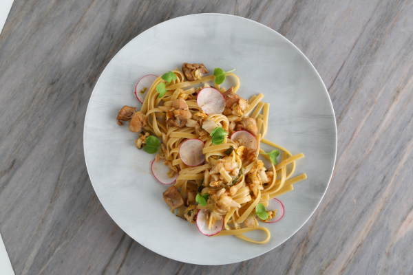 Fettuccine Recipe with Chicken Thighs & Kimchi