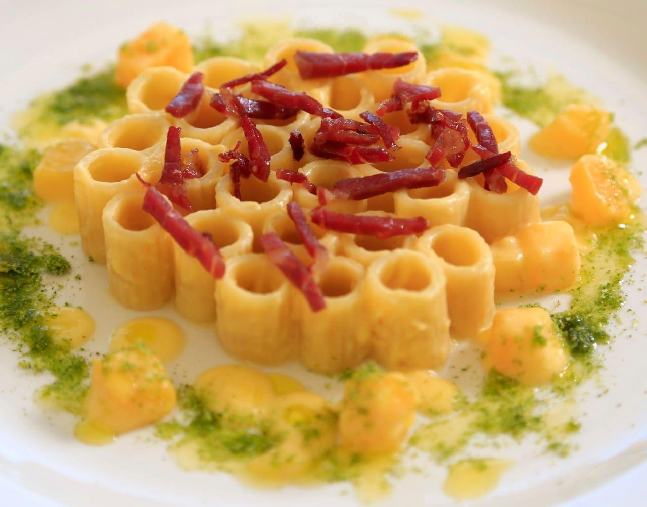 Mezzi Rigatoni with Butternut Squash, Prosciutto & Green Onion Powder