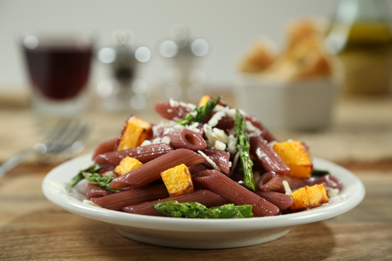 Penne with Red Wine Reduction, Roasted Butternut Squash and Asparagus