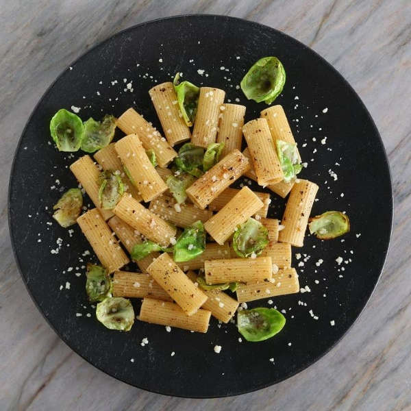 Quick Rigatoni Recipe with Brown Butter Pasta Sauce, Parmigiano Reggiano and Brussels Sprouts