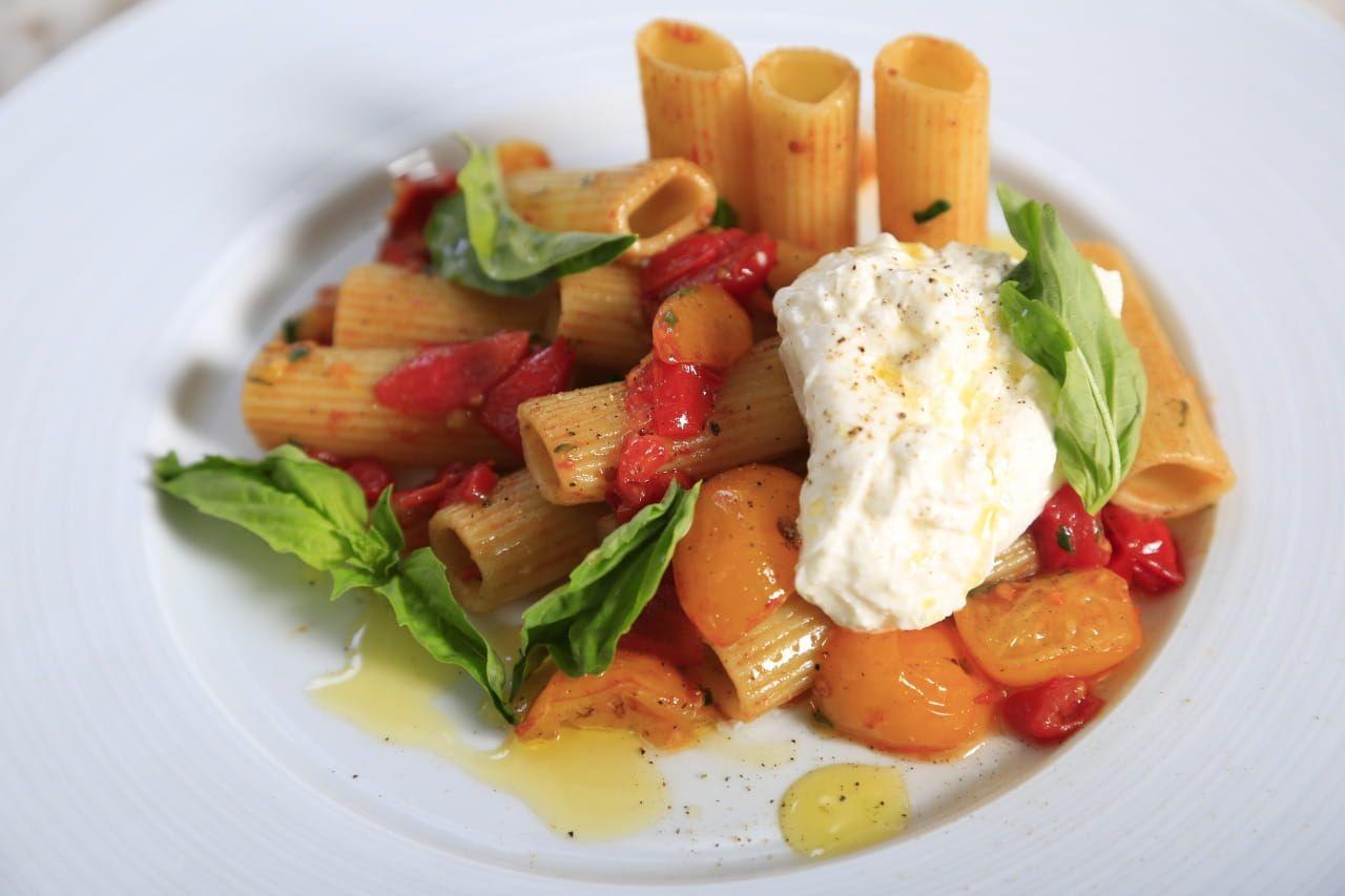 Rigatoni with Grape Tomatoes, Basil and Burrata