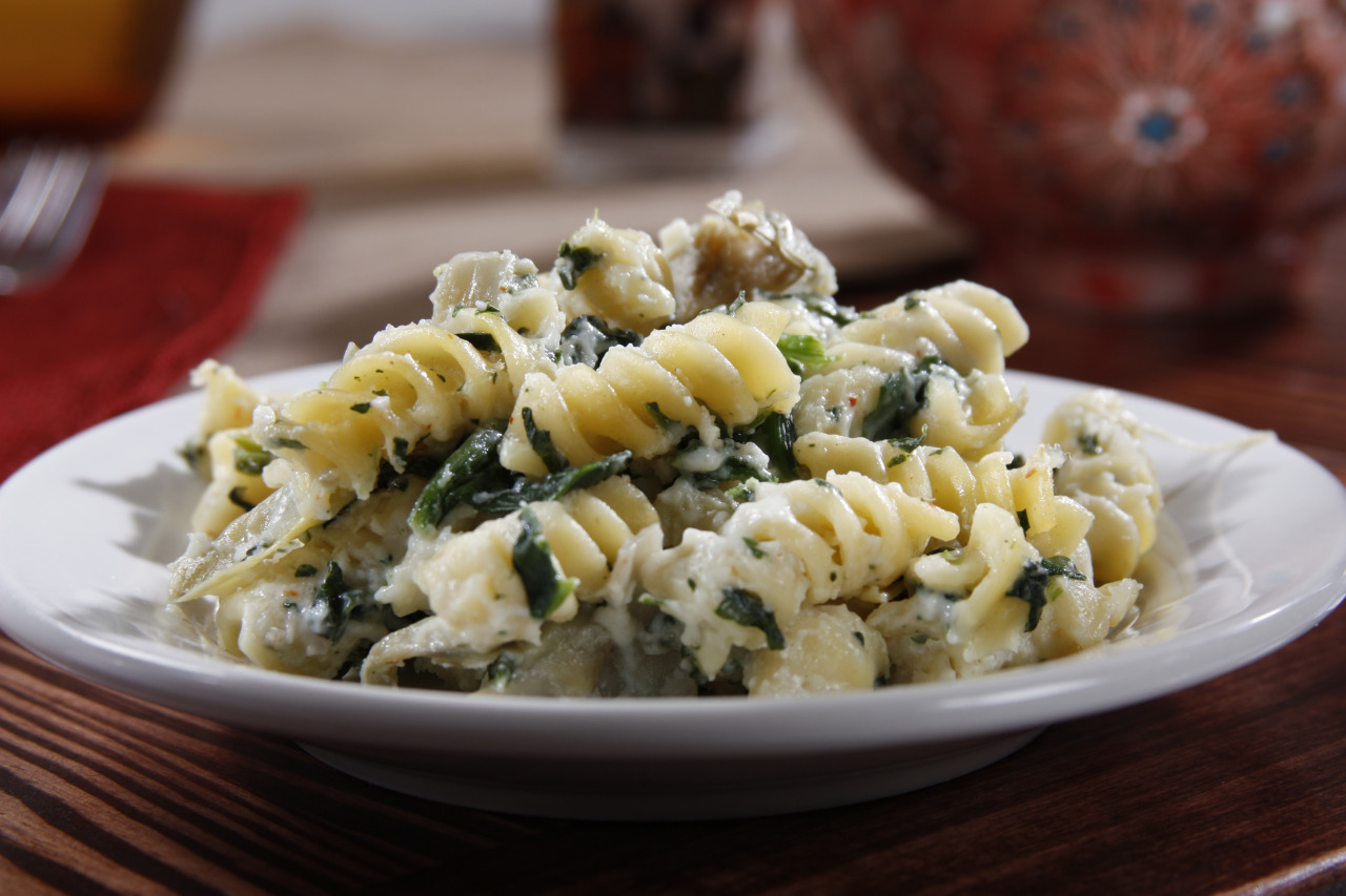 Rotini Bake with Creamy Artichokes and Spinach Sauce