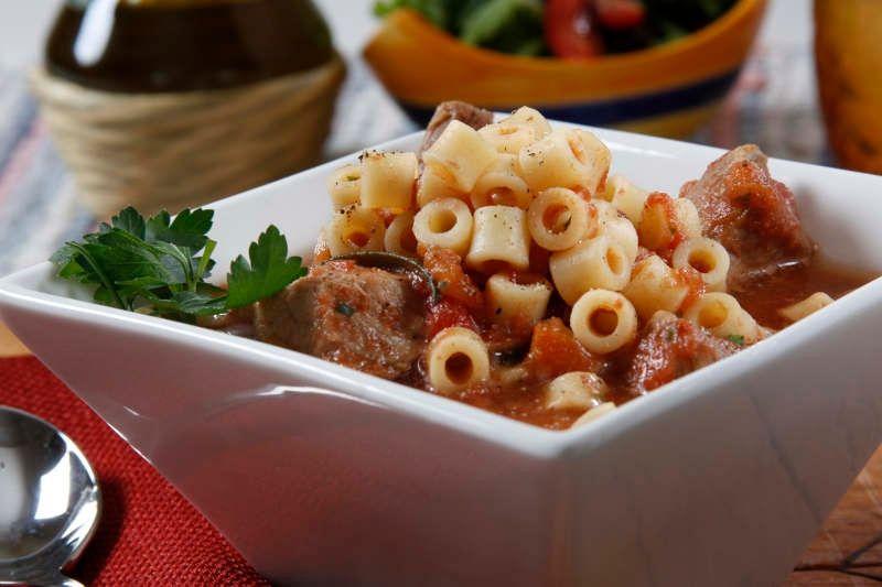 Slow Cooker Braised Pork Shoulder Soup with Ditalini