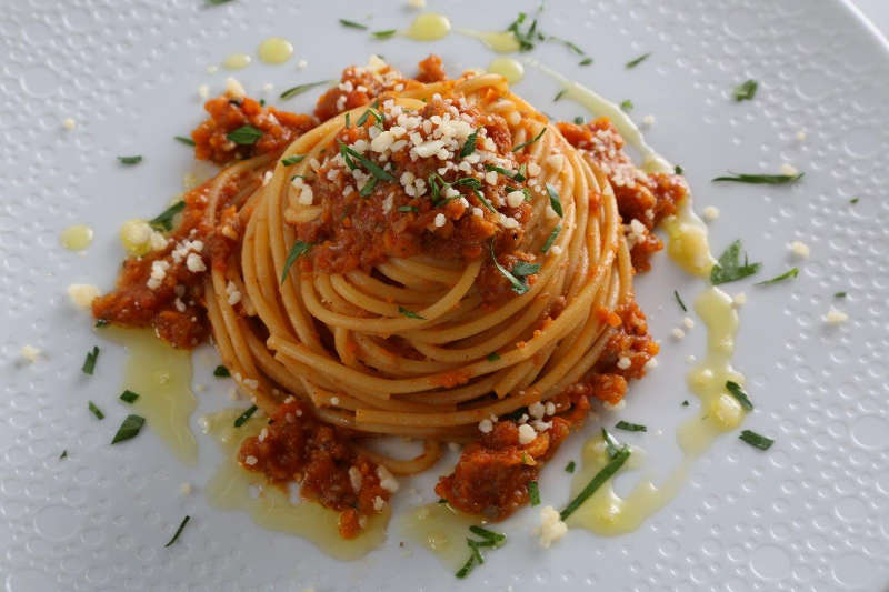 Spaghetti with Vegetarian Bolognese Pasta Sauce