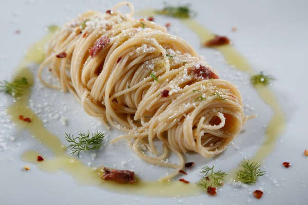 High Protein Spaghetti Pasta Recipe with Anchovies and Fennel Tops