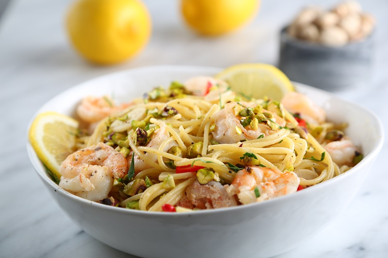 Shrimp Spaghetti Recipe with Lemon and Pistachios