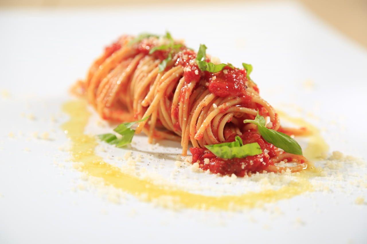 Spaghetti with Tomato, Basil and Parmigiano