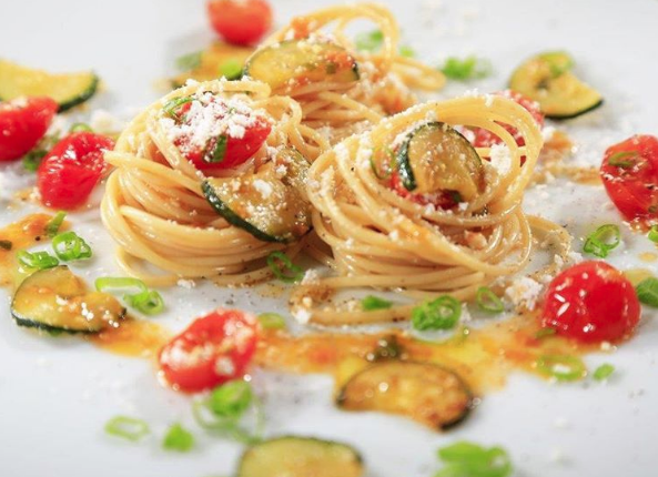 Thin Spaghetti with Zucchini, Grape Tomatoes and Spring Onion