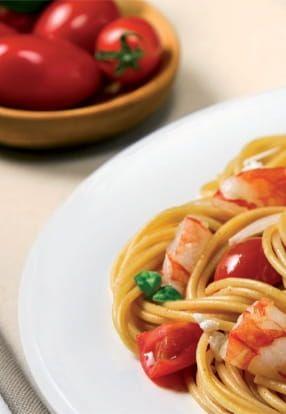 Špageti Barilla Integrale sa škampima uz ricottu sn timjanon i bosiljkom