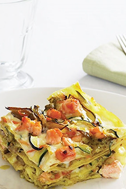 Barilla Lasagne with salmon sauteed vegetables and Pesto Genovese