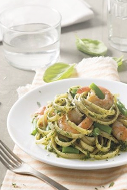 Barilla Linguine with prawns and Pesto Genovese